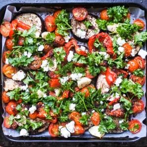 Sumac roasted vegetables garnished with feta and chopped parsley