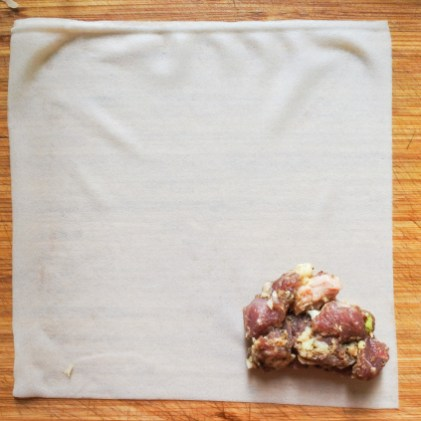 Spiced lamb mixture in the corner of a spring roll wrapper