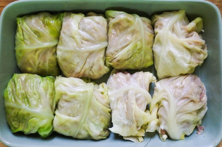 stuffed cabbages rolls in an oven tray