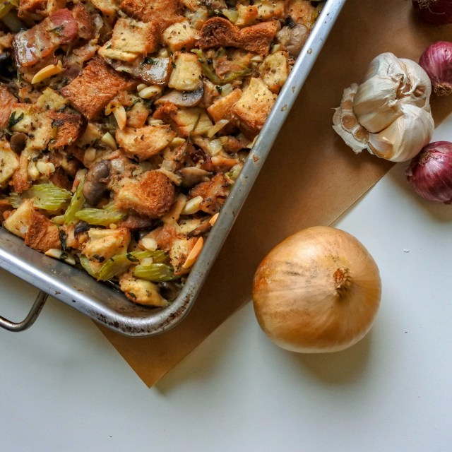Bacon and almond herb stuffing with onions and garlic