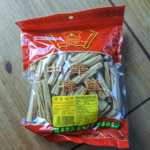 Dried beancurd sticks in a red plastic bag