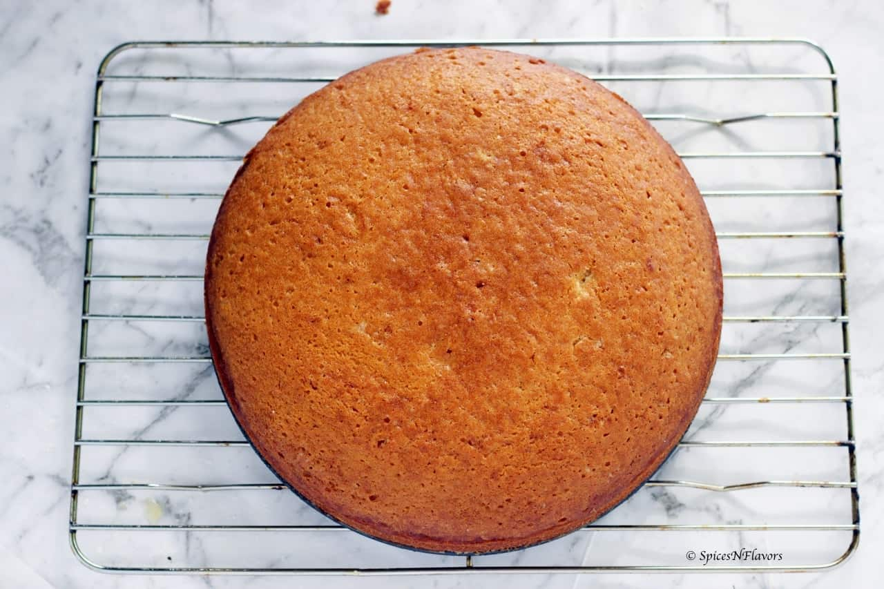 Eggless Vanilla Cake One Bowl No Butter Or Milk Spices N Flavors