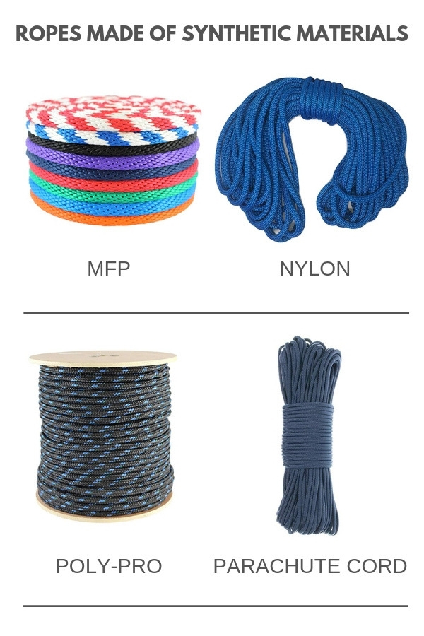 Types of rope made of synthetic materials - MFP, nylon, poly-pro, parachute cord