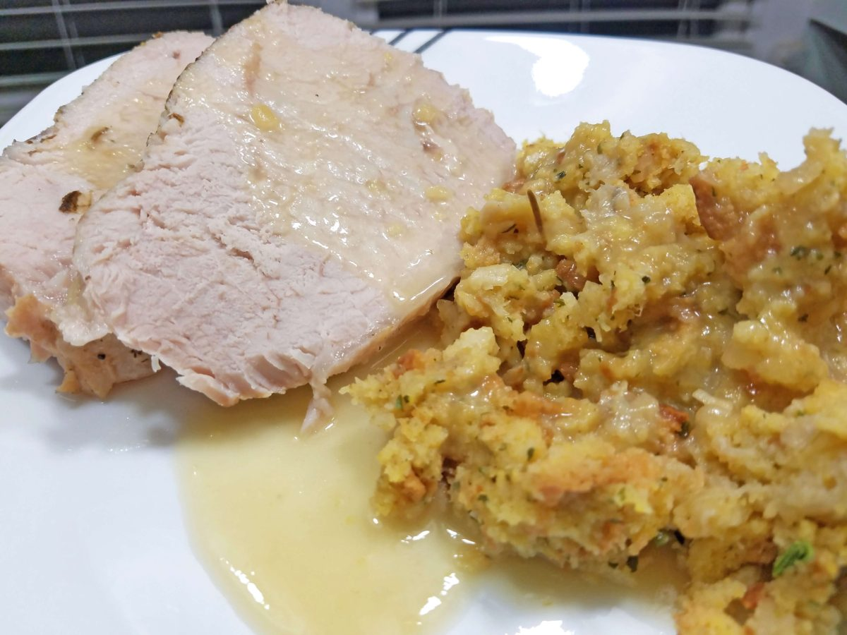 Pressure Cooker Pork Loin, Stuffing and Gravy
