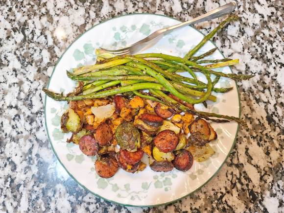 One-Pan Andouille Sausage, Brussels Sprouts and Sweet Potatoes