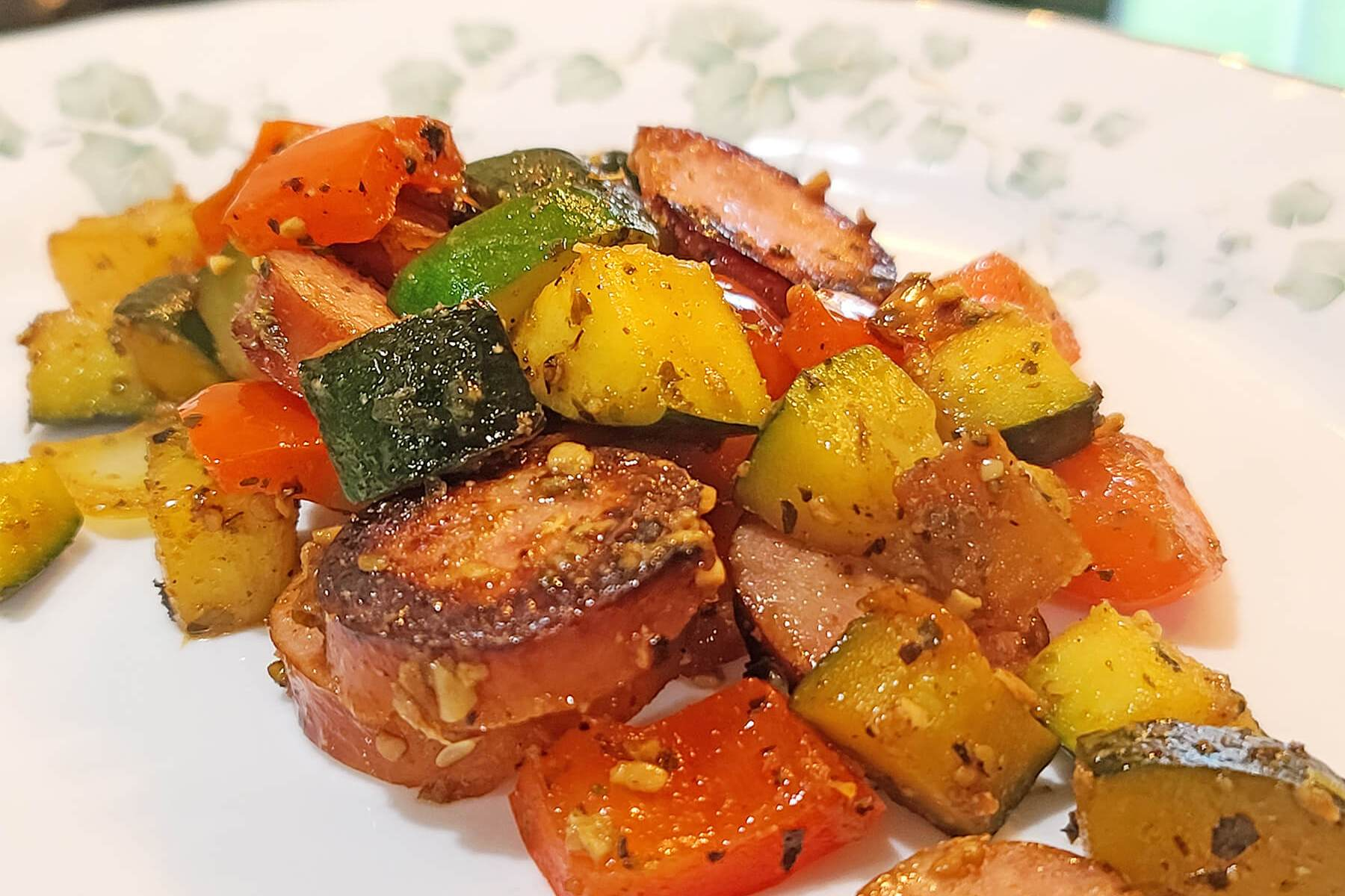 Skillet Sausage and Zucchini