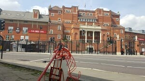 Window cleaning outside Oval Cricket Ground
