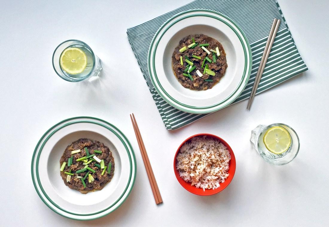 Korean soy sauce grilled beef bulgogi