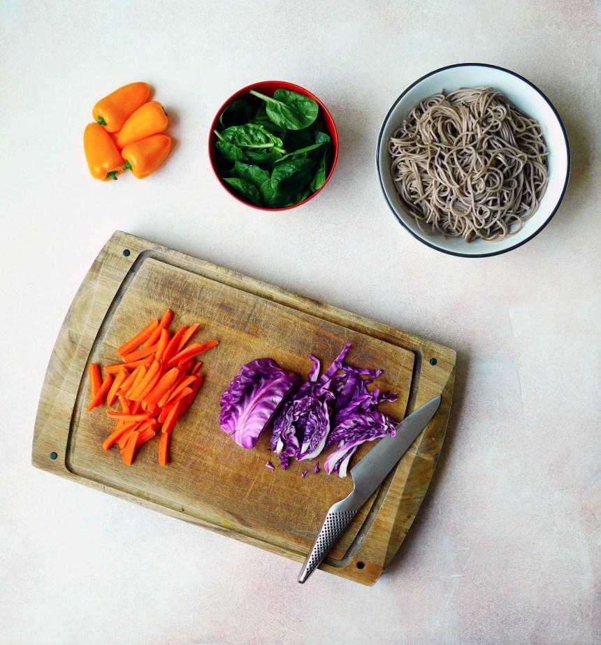 healthy spicy korean soba salad