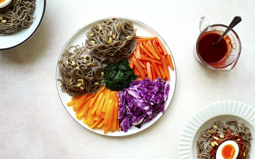 spicy korean soba noodles salad