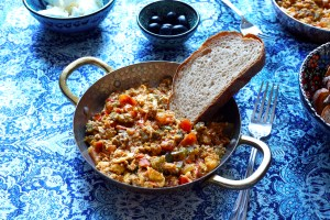 Turkish scrambled egg menemen