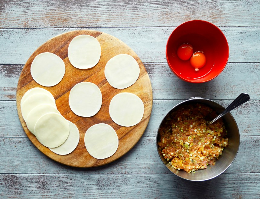 Korean kimchi pork dumplings ingredients