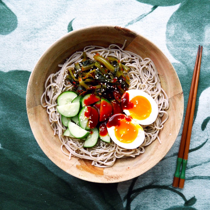 spicy kimchi noodles and eggs