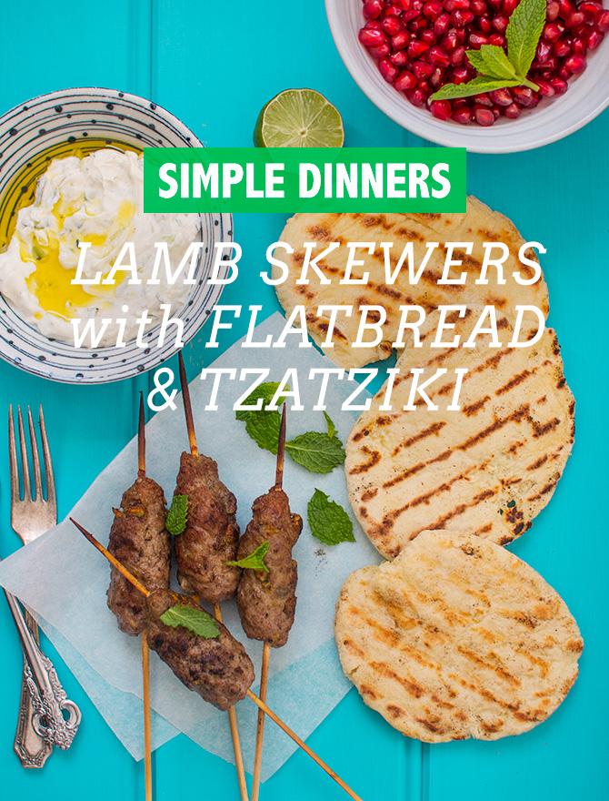 Lamb Skewers with Flatbread and Tzatziki
