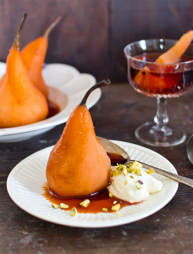 Boozy Desserts - Negroni Poached Pears