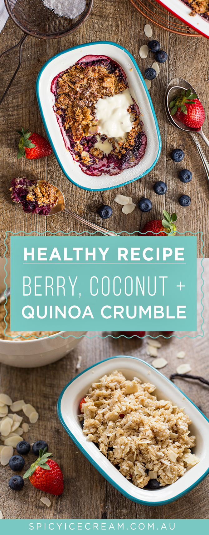 Healthy Berry, Coconut & Quinoa Crumble