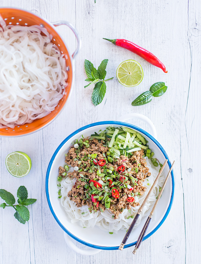 Spicy Pork and Tahini Noodles