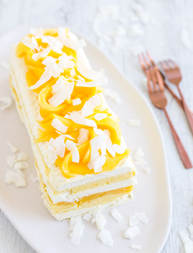 Salted Coconut Mango No Churn Ice Cream Cake