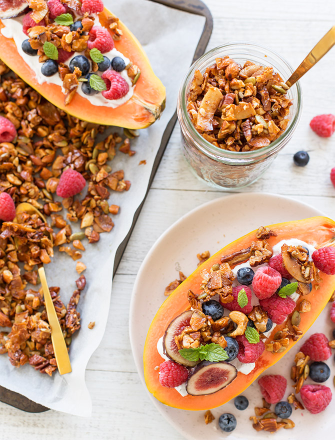 Papaya Boats with Grain Free Granola