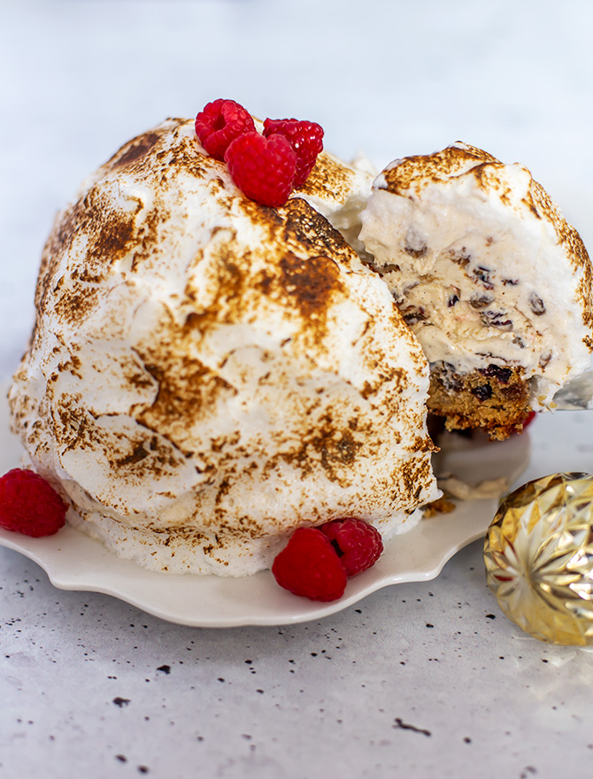 No Churn Christmas Pudding Bombe Alaska