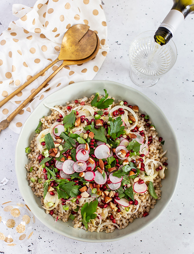 Pearl Barley, Pomegranate and Fennel Salad - Christmas Side Dish