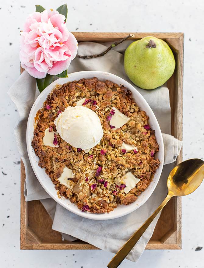 Pear and Pistachio Crumble with White Chocolate