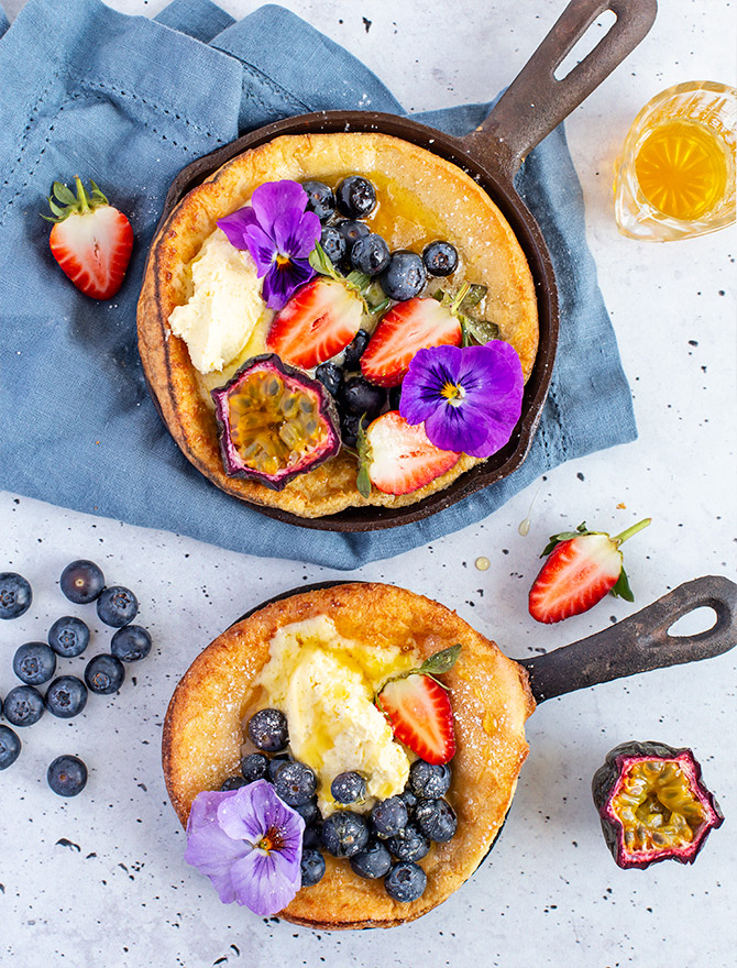 Dutch Baby Pancake with Chamomile Infused Honey