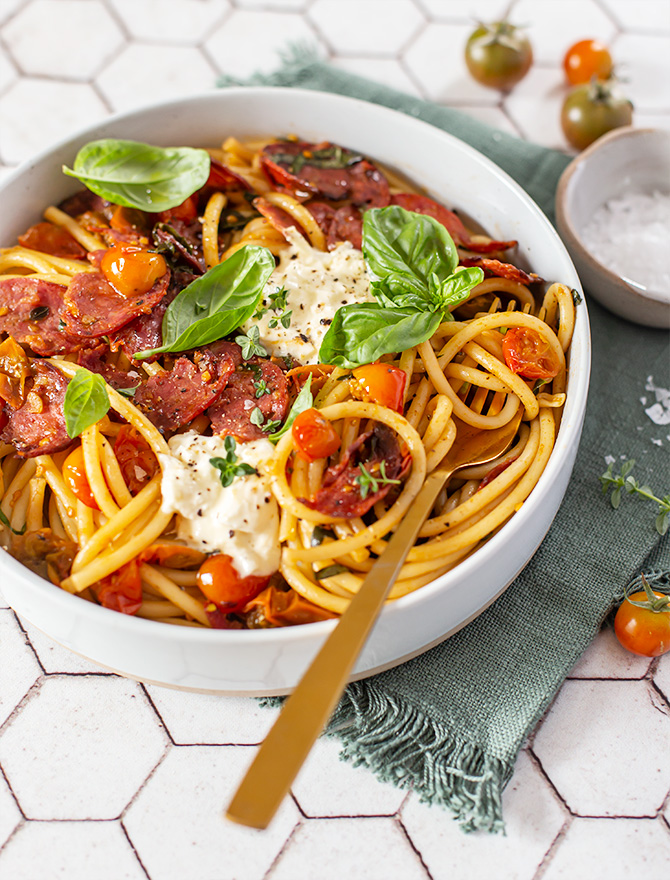 Easy Salami Pasta with Cherry Tomatoes & Burrata