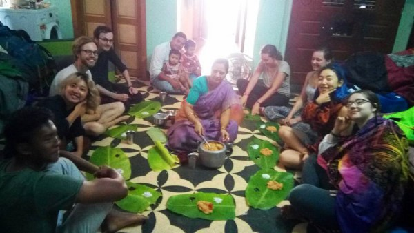 Eating from banana leafs in Madurai, India