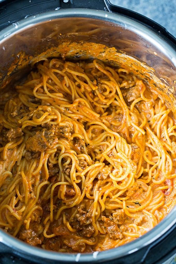 instant pot cream cheese spaghetti