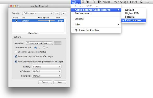 smcFanControl 2.4: ventole sotto controllo anche con Mountain Lion : SPIDER-MAC