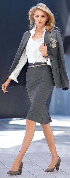 Not all suits are black! Gray is another neutral color you can experiment with for business professional looks. Just make sure the colors and fabric match!