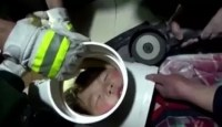 Young Boy Gets Head Stuck In Waterpipe -  5    ...