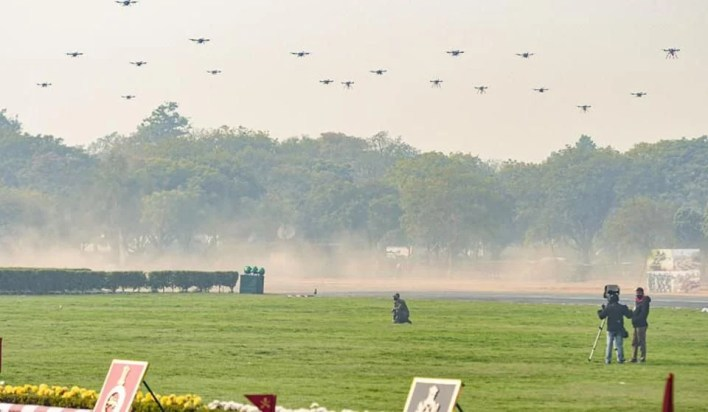 swarm of 75 drones destroying a variety of simulated targets in explosive kamikaze attacks for the first time. on Indian Army Day