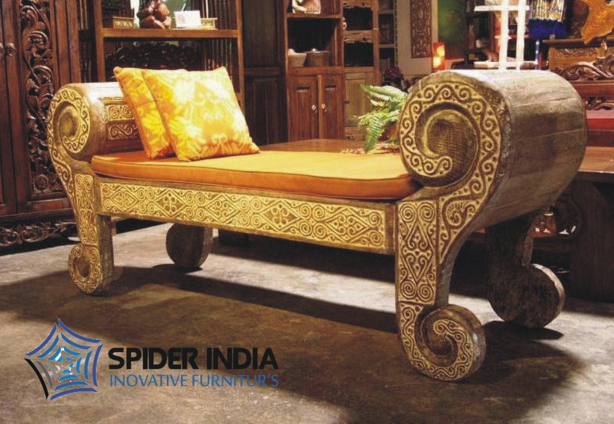 wooden carving sofa online india light green leather sectional spider