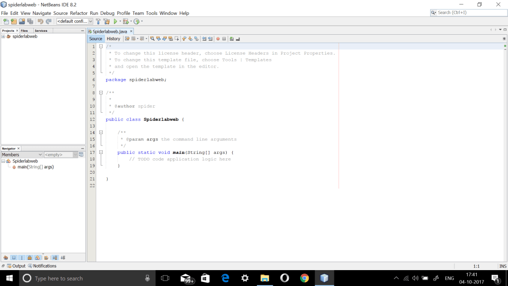 new project in NetBeans IDE