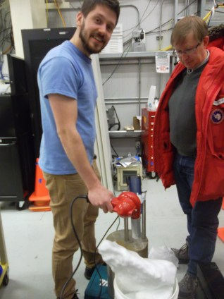 Postdoc Jon comes in and doubles the heat. Barth is dubious, since Jon has neglected to turn on one of the heat guns.