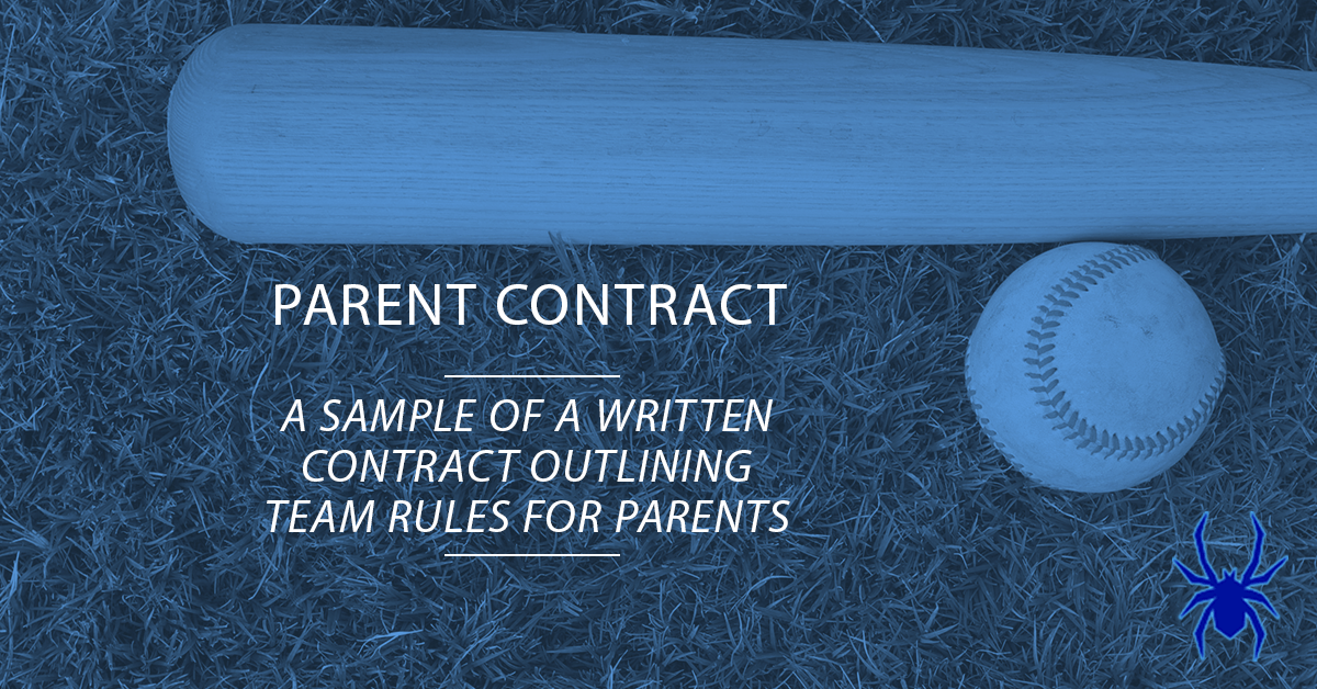 Youth Baseball Parent Contract Sample  Spiders Elite