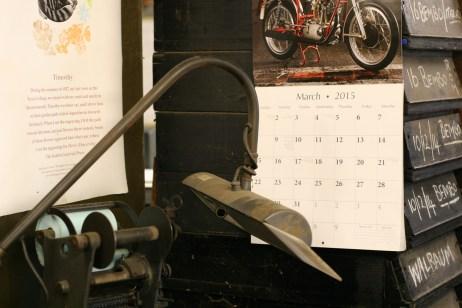 Calendar at Whittington Press © Sarah Dixon 2015