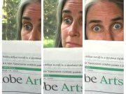 A collage of three images: Jill reading the paper and discovering something with surprise.
