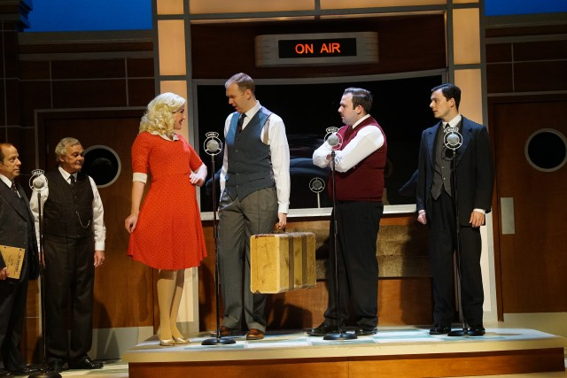 "Photo of Sudbury Theatre Centre's production of ""It's A Wonderful Life"" by Robert Provencher. Actors from left to right: Richard Alan Campbell, Robbie O'Neill, Jessica Vandenberg, Mark Crawford, Richard Barlow, and Kelly Penner"