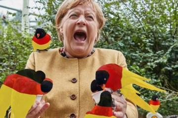 Merkel - von den Deutschlandfahnen gebissen....; Bild: Spiegelbild.news