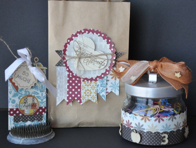Teacher's gift set created with LilyBee All Spice, SC Wood Veneers, burlap & sheer ribbons and May Arts Burlap String.