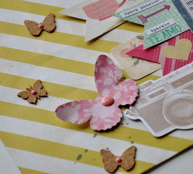 @spiegelmomscraps @jodyspiegehoff @cratepaper @amytangerine @mymindseyeinc @pinkfreshstudio @maggieholmesdesign @americancrafts @shimelle, #gold #cratepaper #maggieholmes #DIY #scrapbook #banner #enameldots #butterfly #corkbutterfly #cork #ink #mrhueys #camera #textmessage