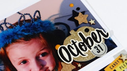 @spiegelmomscraps @jodyspiegelhoff @sarahmcclellan @cratepaperinc @AmericanCrafts, #spiegelmomscraps #scrapbook #DIY #ProjectLife #cratepaperinc #americancrafts #halloween #afterdark #sequins #gold #doily #shakerpocket #thickers #stickers #corkstars #midnightfeltstars #DIY