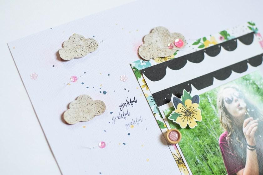 12 x 12 Spring theme scrapbook layout #spiegelmomscraps #shimmerz #corkclouds #mixedmedia #shimelle #scrapbooking #papercrafting #sequins @shimmerzpaints @wordsandpaperscraps @spiegelmom_scraps