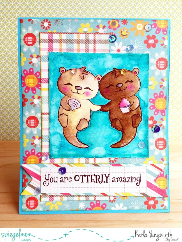 @spiegelmomscraps @jodyspiegelhoff @prettycutestamps @janedavenport @michaelsstores, #spiegelmomscraps #michaelsstores #janedavenport #mermaidmarkers #sequins #cardmaking #watercolor #otters #stamping #papercrafting #happybirthday #birthdaycard #greetingcard
