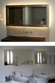 Badkamerspiegel LED verlichting  op maat gemaakte