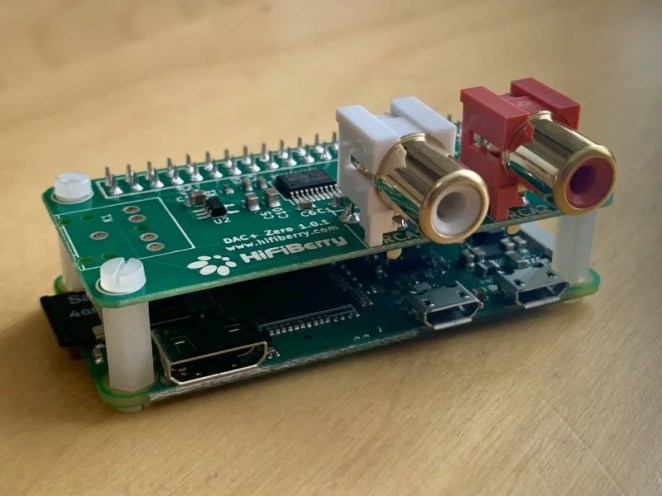 The HiFiBerry DAC is an entry-level digital-to-analogue convertor that provides much higher quality than the standard audio out from a Raspberry Pi