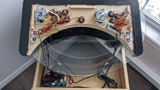 Booze barrel joystick and buttons panel during the making process